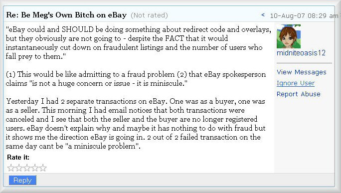 Yahoo Finance Message Board Post About eBay Cross Site Scripting Redirect Scams
