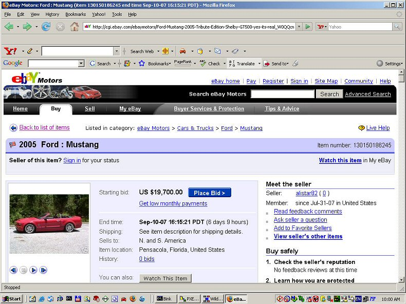 eBay 2005 Ford Mustang Scam