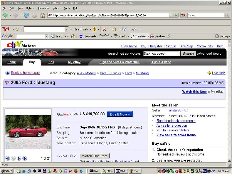 eBay 2005 Ford Mustang Scam 1