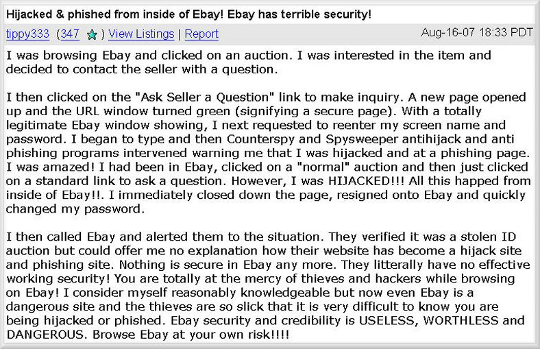 eBay Forums XSS Cross Site Scripting Redirect Fraud Discussion 1